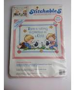 "1992 Counted Precious Children STITCHABLES Cross Stitch Kit 10"" x 8"" Dim... - $11.88"