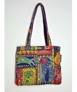 Laurel Burch Medium Shoulder Tote Purse Dog Theme Sequins Tapestry Fabri... - $39.99