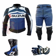 SUZUKI GSX-R BLUE MOTORBIKE COMPLETE GEARS COWHIDE LEATHER SUIT, BOOTS &... - $459.99