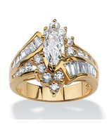 3.20 TCW CZ Ring 18k Gold over .925 Sterling Silver - $57.82
