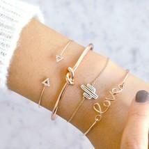 UNIQU® 4pcs/set Vintage Gold Letter Knot Cactus Bracelet Trendy Geometric Chain - $3.76