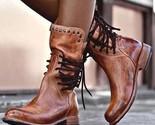 Tiosebon Women's Leather Boots - Brown, 9US 7UK - $57.56