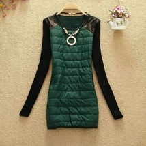 Sexy Jersey O-Neck Winter Dress With Necklace - $23.00
