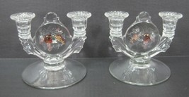 Westmoreland Della Robbia Glass Pair 2 Lite Candlesticks  Fruit Tinited Set  - $143.55