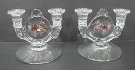 Westmoreland Della Robbia Glass Pair 2 Lite Candlesticks  Fruit Tinited ... - $143.55