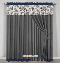4 Stripe Oasis Floral Garden Curtain Set Blue Gray Brown Off-White Valan... - $40.89