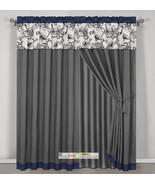 4 Stripe Oasis Floral Garden Curtain Set Blue Gray Brown Off-White Valan... - $40.89