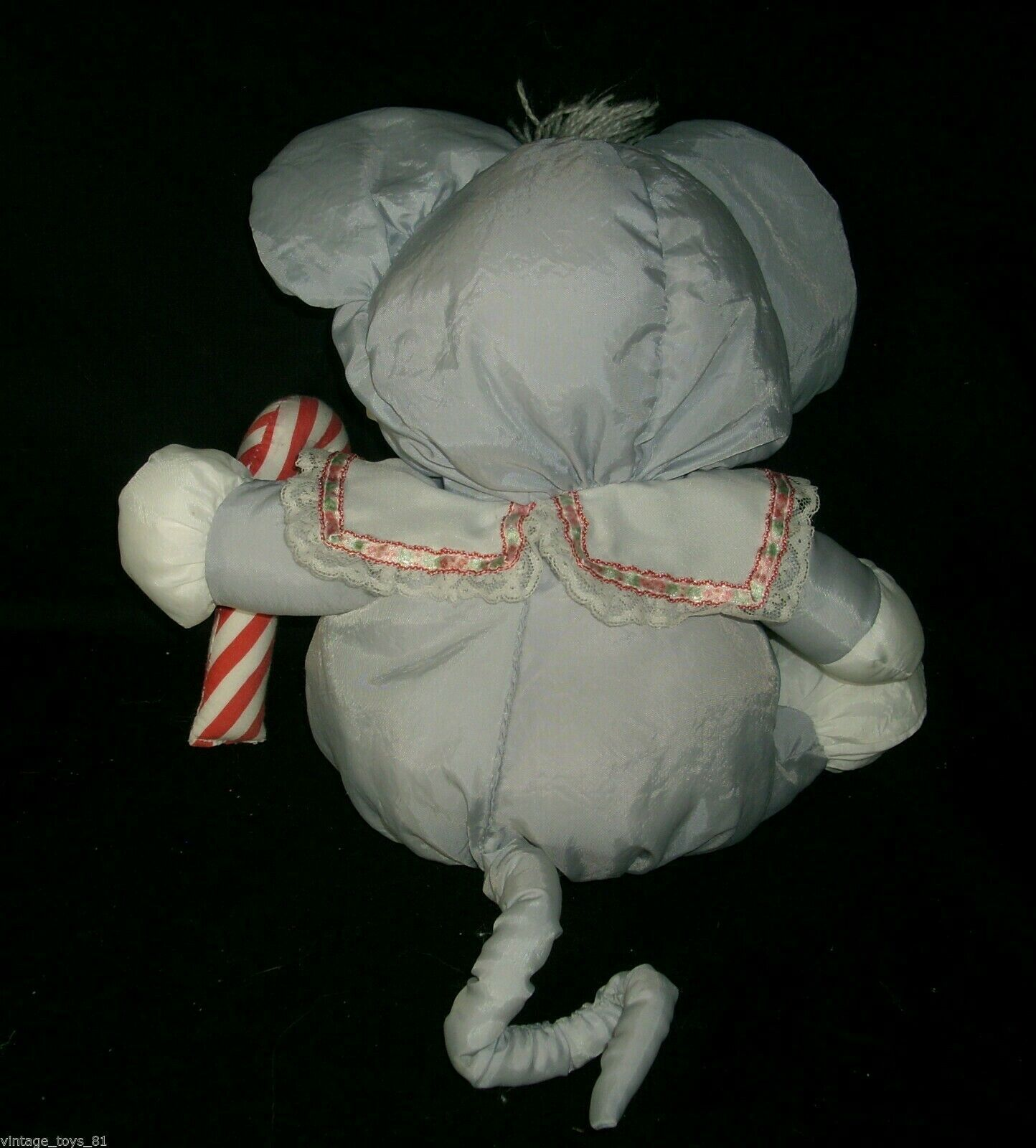 "12"" FISHER PRICE PUFFALUMP GRAY MOUSE STUFFED ANIMAL PLUSH TOY CHRISTMAS CANE"