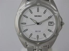 Seiko mens watches qtz white dial stainless steel bracelet caliber 7N42 ... - $191.07