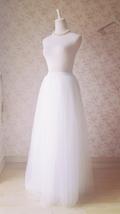 White Lace Tulle Maxi Skirt White Bridal Tulle Skirt A Line Tulle Wedding Skirt image 1