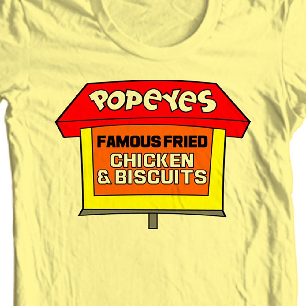 Popeyes famous chicken t shirt retro fast food tee for sale online store tee