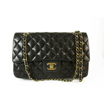 CHANEL Black Lambskin Leather Classic Double Flap Small Bag Gold hardware - $3,554.10