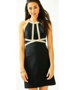 Lilly Pulitzer Layne Onyx Black Gold Lilly Lace Stretch Shift Dress - $157.50