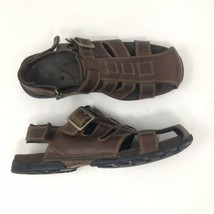 TIMBERLAND Men's Sz 11M Brown Leather Fisherman Sandals 85031 - $37.39