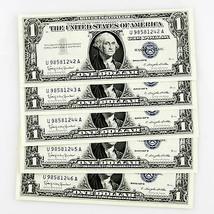1957B de Plata Certificado 5 Consecutivos Notas U98581242A-U98581246A - $69.43