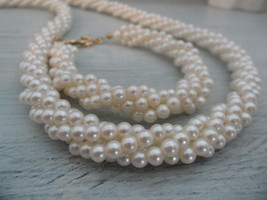 Vintage Napier Jewelry Set Twisted Pearl Necklace Bracelet Set Something Old - $40.00