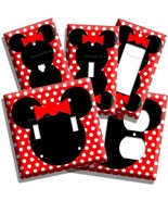 NEW MINNIE MOUSE SILHOUETTE RED POLKA DOTS KIDS GIRLS ROOM LIGHT SWITCH ... - $8.09+