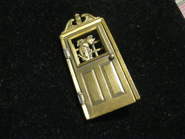KITTY CAT and DOG in Opening Door BROOCH Pin signed JJ - 3 inches - $27.00