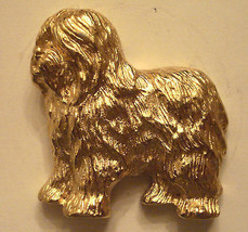 Old English Sheepdog Lapel Pin Beautiful Quality Vtg Gold Plated Dog Lover - $39.55