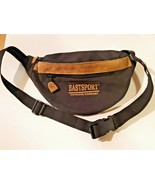 Vintage 90s Eastsport Fanny Pack Black w brown leather accents, hiking f... - $16.82