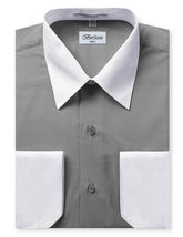Berlioni Italy Men's Premium Classic White Collar & Cuffs Two Tone Dress Shirt image 5