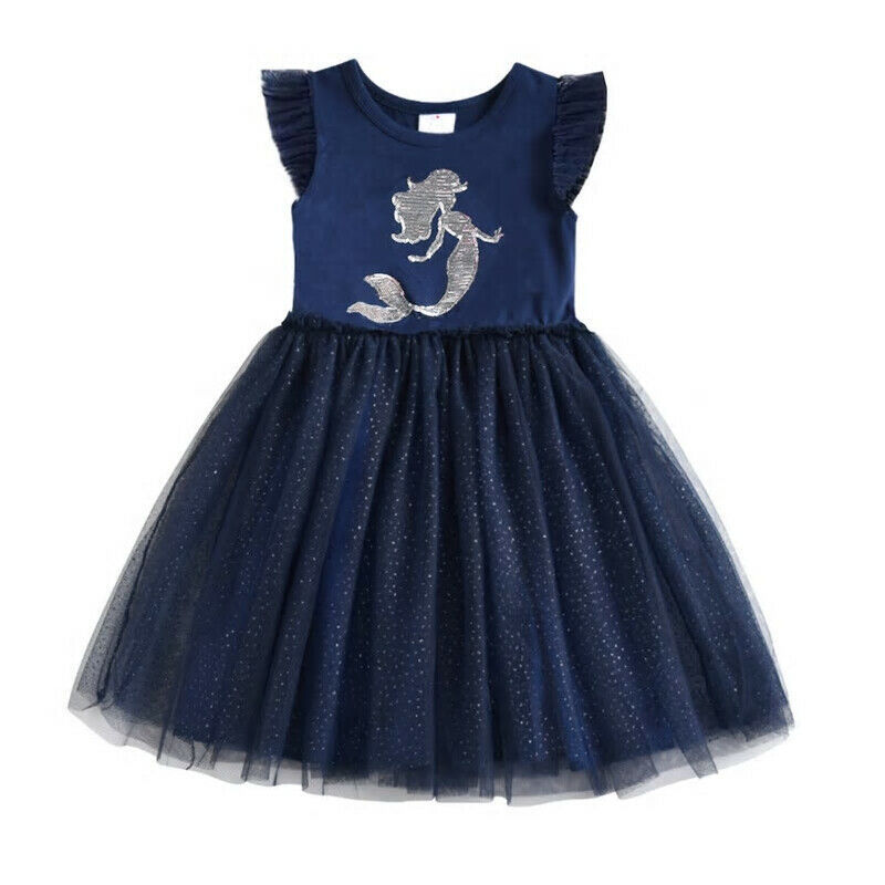 Primary image for NEW Mermaid Silver Gold Flip Sequin Girls Blue Sleeveless Tutu Dress