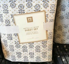 Pottery Barn Teen Metallic Muse Sheet Set Lavender Twin XL Organic Purple Gray - $79.00