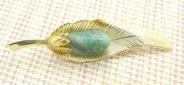 Green Aquamarine Gold Tone Leaf Pin Brooch Vintage - $19.79