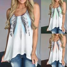 Women Feather Print Sleeveless Shirts Blouse Casual O-neck Tank Tops T-S... - $26.36+