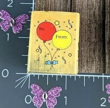 Dakin To From Birthday Confetti Balloons Rubber Stamp #E156 - $3.47