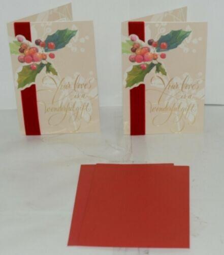 Hallmark XZH 555 1 Holly Bush Velvet Like Ribbon Christmas Card Package 2