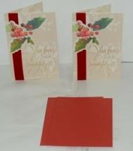 Hallmark XZH 555 1 Holly Bush Velvet Like Ribbon Christmas Card Package 2 image 1