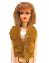 Mod Vintage Barbie Doll Clothes Clone Doll Tan Leather Vest ~ MINT - $4.94