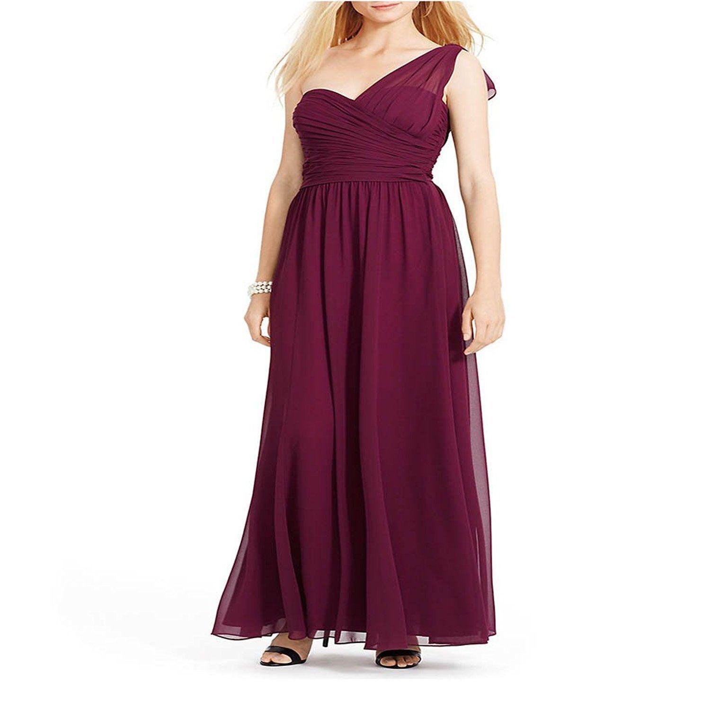 2740-2 Lauren Ralph Lauren Womens Empire Pleated Evening Dress Purple 12 $260 - $83.30