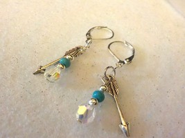 Swarovski Crystal & Sky Blue Turquoise Native American Earrings - $7.00