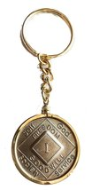NA Medallion Holder Keychain 18k Gold Plated Narcotics Anonymous Key Chain - $12.86