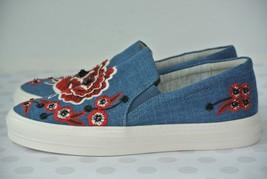 NEW Nine West Onyeka Womens Sz 7.5 M Blue Denim Slip On Platform Sneakers - $49.49