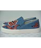 NEW Nine West Onyeka Womens Sz 7.5 M Blue Denim Slip On Platform Sneakers - $49.49