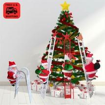 Ship from USA Christmas Hanging Decoration Santa Claus Electric Climb Ladder Han image 1