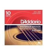 D'Addario EJ17-10P Phosphor Bronze Acoustic Guitar Strings, Medium, 13-5... - $62.47