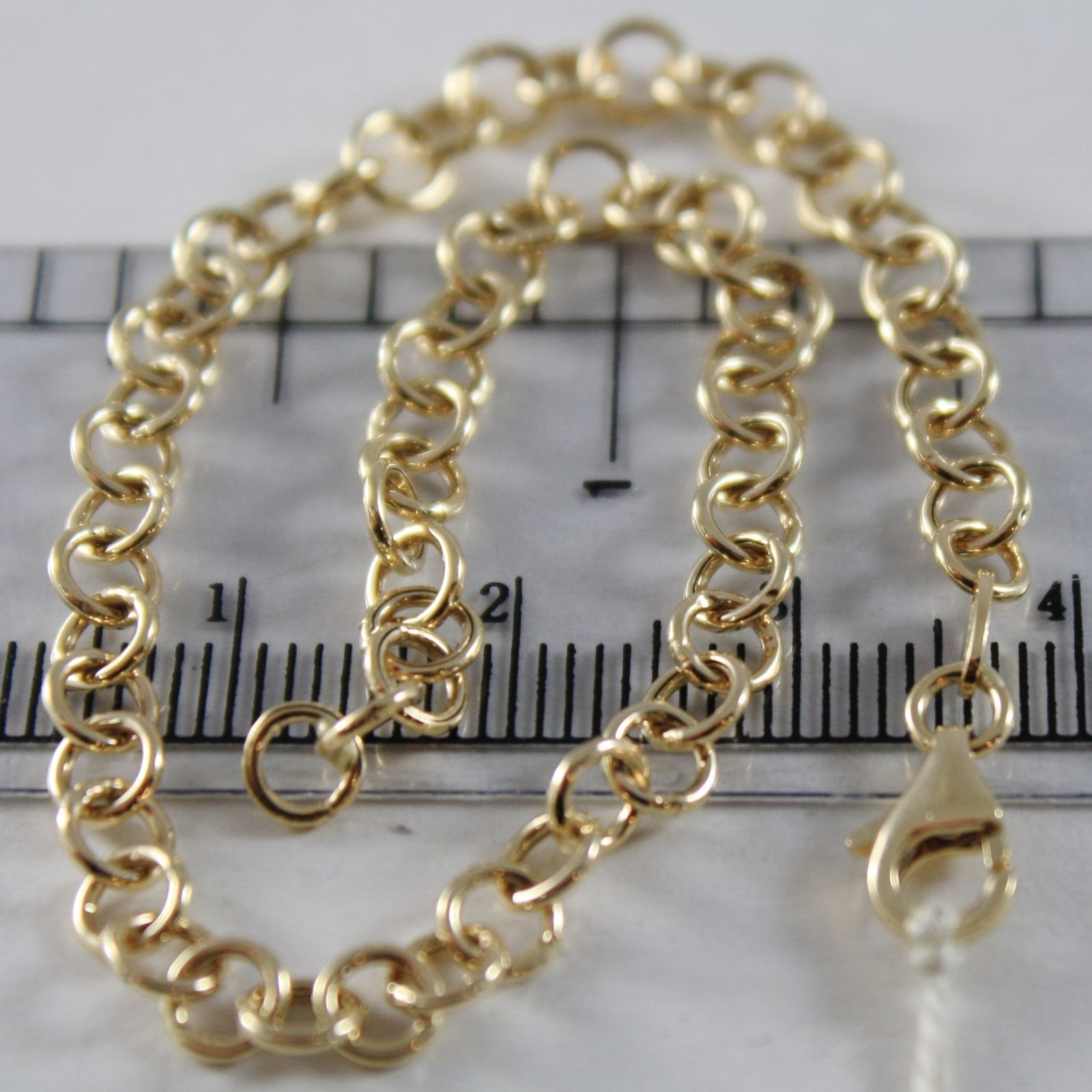 SOLID 18K YELLOW GOLD BRACELET WITH ROUND CIRCLE ROLO MESH, 4 MM MADE IN ITALY