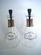 Vintage Pyrex Vinegar & Oil Cruet Set Clear Glass Gold Trim - $12.82
