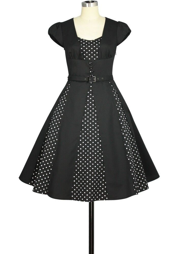 Polkadot Black Rockabilly Retro 1950s Swing Dress Vintage 50s Pin Up Party