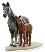 Hagen-Renaker Miniature Ceramic Horse Figurine Appaloosa Mare and Colt on Base image 2