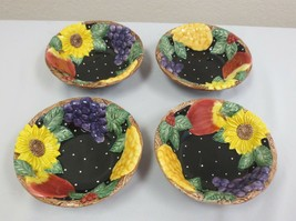 """Set of 4 Rare Fitz and Floyd embossed Fruit & Sunflower 7"""" bowls c 1993 - $50.00"""