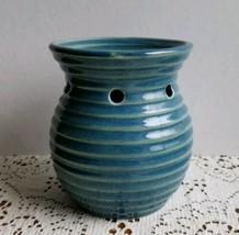 Yankee Candle Ceramic Tart Warmer Burner Blue Green Ribbed Home Decor - $29.89
