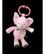 Carters Pink Musical Elephant Brown Polka Dot Clip On Baby Toy Music Lig... - $12.87