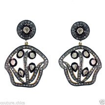 Genuine Rose Cut Diamond Dangle Earrings 925 Sterling Silver Handmade Je... - $430.10