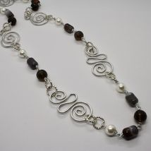 Necklace the Aluminium Long 88 Inch with Chalcedony Quartz White Pearls image 2