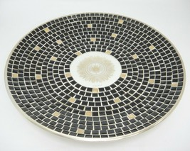 "Georges Briard Large Mosaic Bowl 14"" Round Shallow Dish Black Gold Mid C... - $49.49"